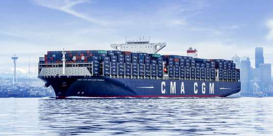 CMA CGM Benjamin Franklin departing Seattle, 1 March 2016.