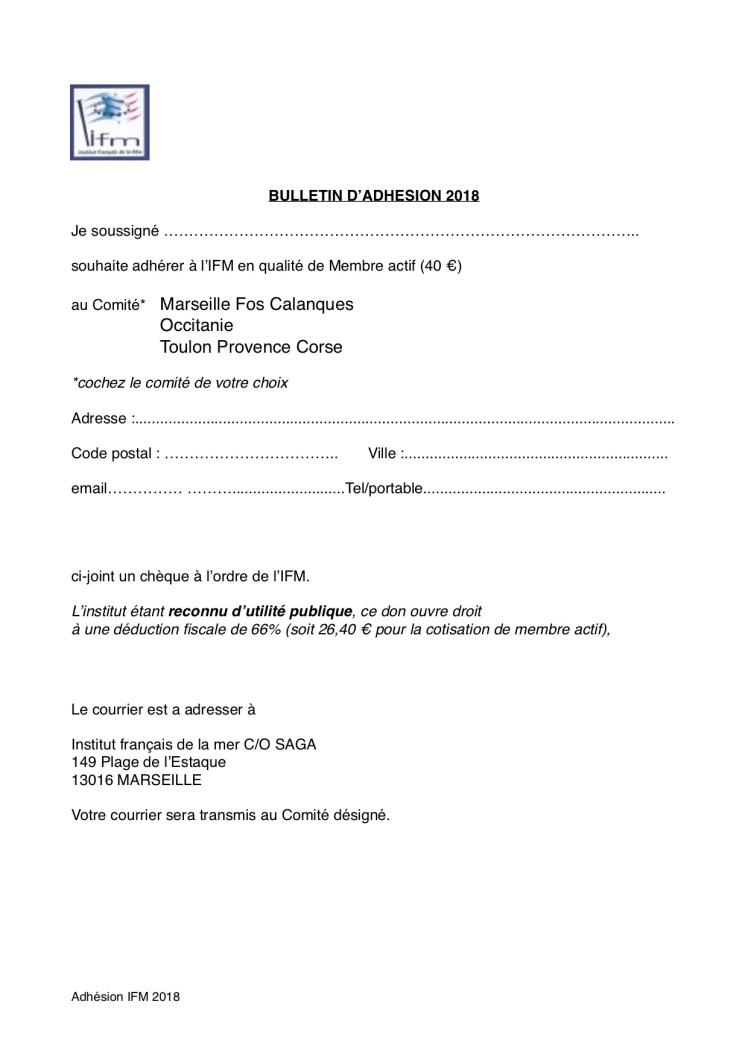 Bulletin adhésion 2018